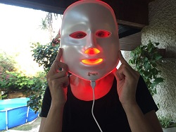 trying a led face mask